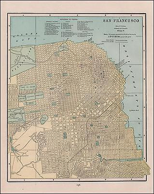 MAP ANTIQUE 1932 CANDRIAN SAN FRANCISCO CITY COUNTY REPLICA POSTER PRINT PAM2033
