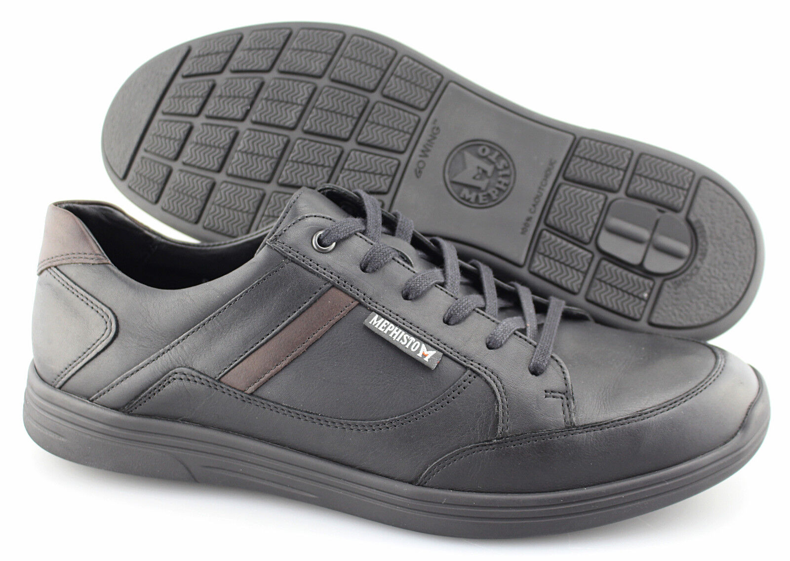 Men's MEPHISTO 'Frank Go Wing' Black Leather Sneakers Size US 11 EUR 10.5