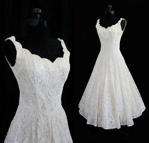 Ivory-White-lace-V-neck-Tea-Length-Wedding-Dress-Evening-Bridal-Gown-Stock-6-16