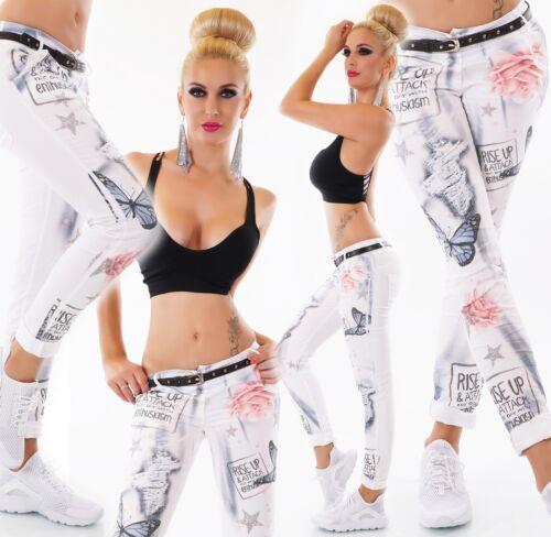 ITALY Jeans Donna Pantaloni Chino Stretch Butterfly fiori print Cintura S M L XL XXL