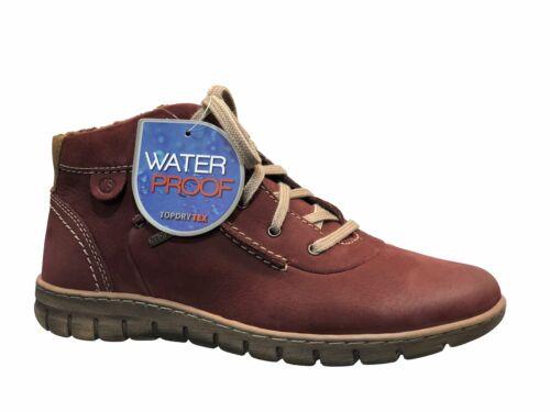 Josef Seibel Steffi 53 Ladies Bordo Waterproof Leather Lace Up Ankle Boots