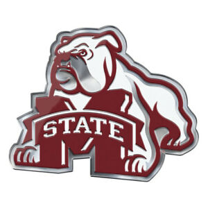 """Mississippi State Bulldogs Chrome Metal Auto Emblem /""""M/"""" State with Maroon NCAA"""