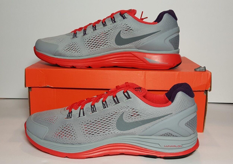 Nuovi uomini lunarglide nike   4 a scarpa 15 grey / rosso / viola 524977 013