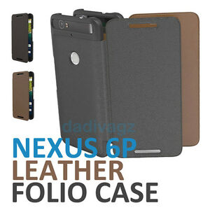 brand new 45000 7f97d Details about Genuine Official Huawei Google Nexus 6P Folio Case Leather  Flannel Flip Cover