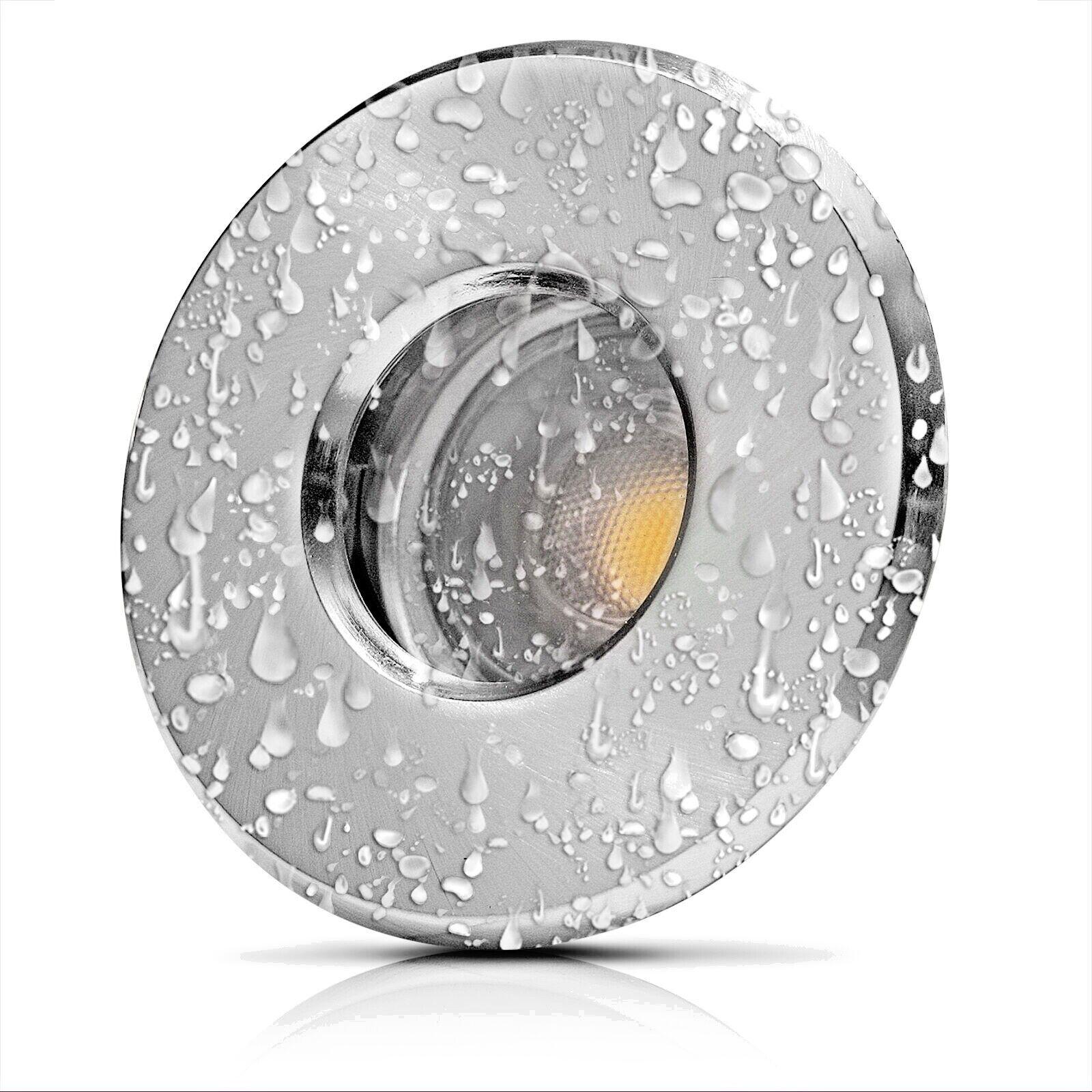 Feuchtraum Decken Einbaufassung   LED   230V   9W=90W   IP54   Wasserdicht   Alu