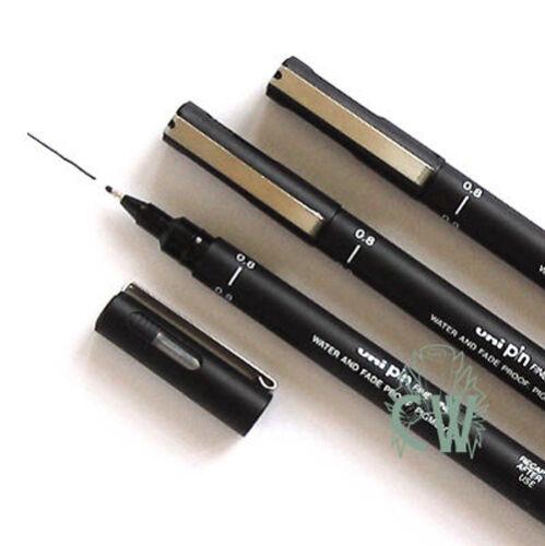 3 X Uni Pin BLACK Fine Line Artists Drawing Pens Size 0.8