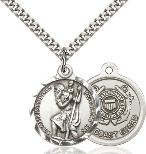 925 Sterling Silver St Christopher Coast Guard Military Catholic Medal Necklace