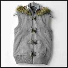 Mudd Juniors Hooded Faux Fur Trim Jacket Vest Grey NWT M 5 7 Sherpa Outerwear
