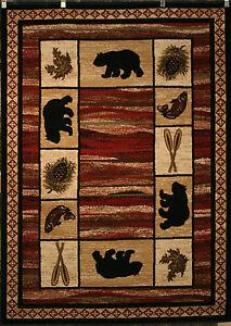 5x8 Bear Fish Oar Black Red Beige Vogel Lodge Cabin