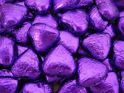 PURPLE FOIL CHOCOLATE LOVE HEARTS WEDDING FAVOURS WRAPPED
