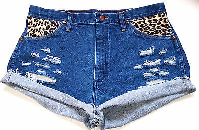 Wrangler Denim Shorts CUT OFF Leopard Patches Distressed Holes Grunge HIPPIE M L