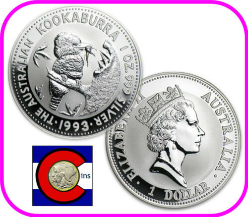 1993 Australia Kookaburra 1 oz Silver Coin BU direct from Perth Mint roll