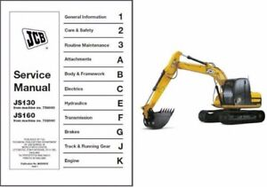 JCB JS130 / JS160 Excavator Service Manual on a CD