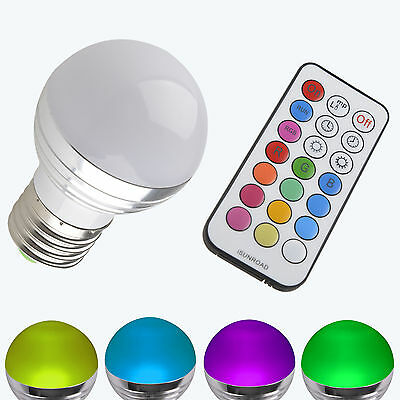 3W E27 RGB LED Light 16 Colors Changing Lamp Bulb 85-265V + IR Remote Control