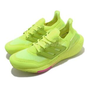 adidas UltraBOOST 21 Solar Yellow Pink Men Running Casual Shoes Sneakers FY0848