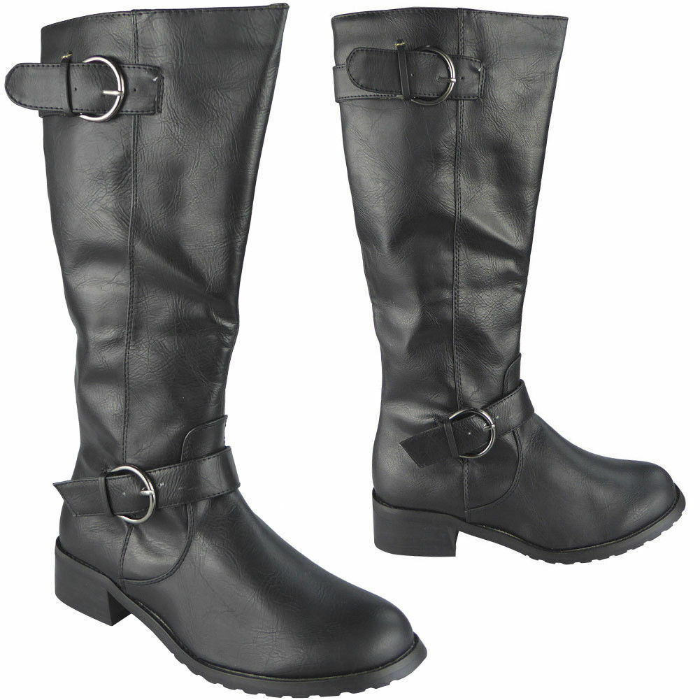 Womens Mid Calf Boots Ladies Buckle Rider Casual Zip Work Low Heel Shoes Size
