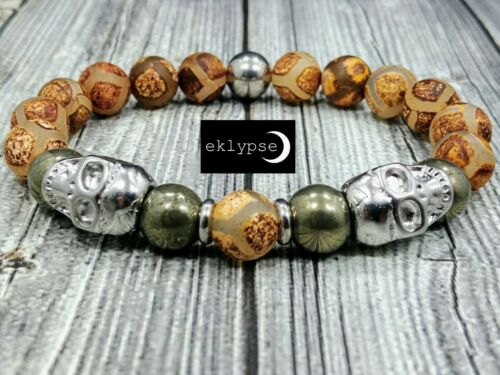 "8/""L STEEL SKULLS 10mm Tibetan Buddhist Agate+Pyrite Gemstone Beaded Men Bracelet"
