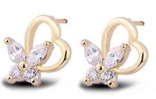 18 k Gold Plated Stud Earrings for Small Girls or Women Heart & Butterfly E751