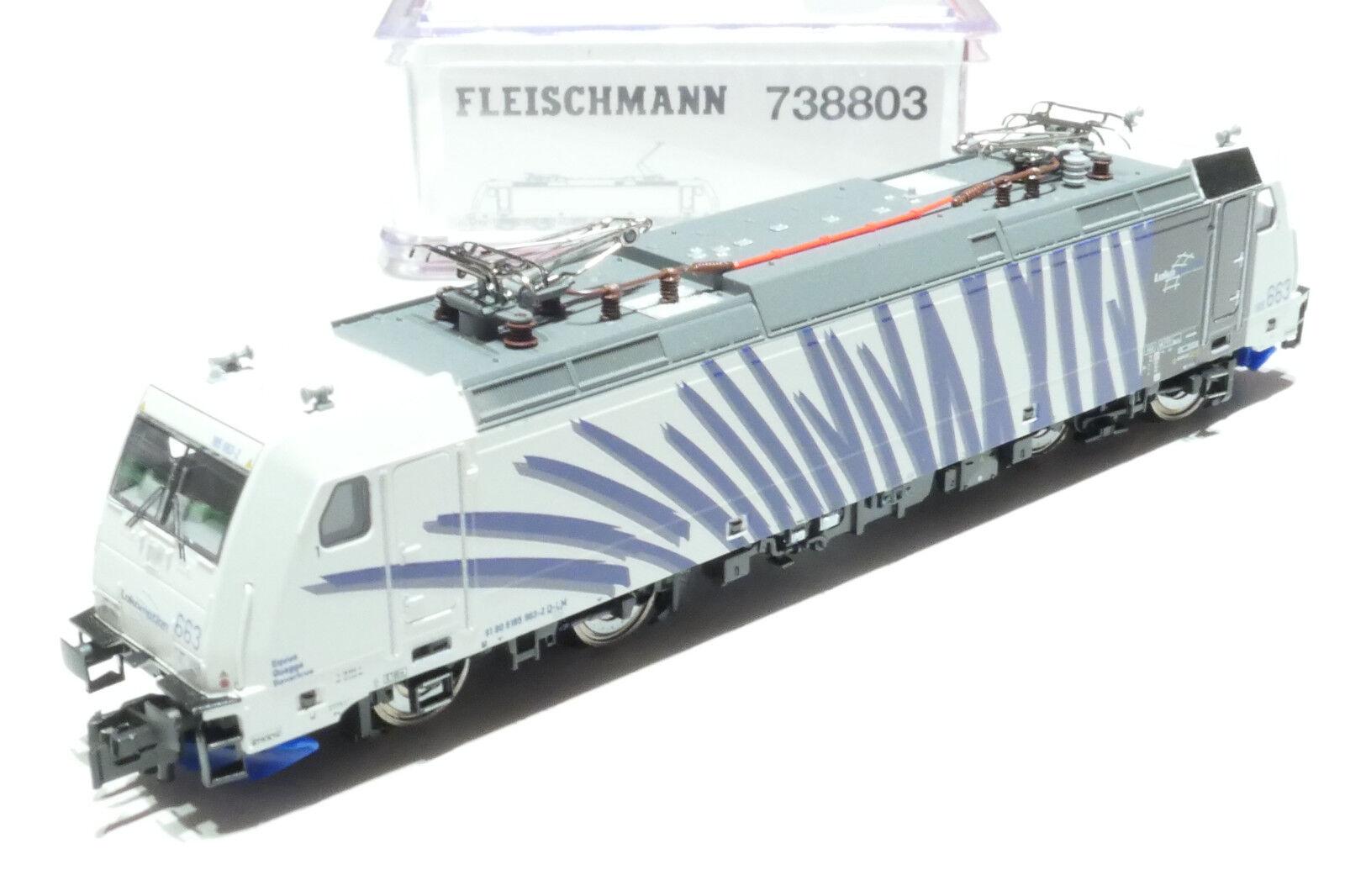 Fleischmann n DB AG Lokomotion 185.663 blancoo azul 738803 nuevo embalaje original