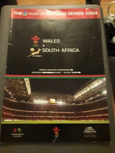 2004 WALES V SOUTH AFRICA SPRINGBOKS TEST INTERNATIONAL RUGBY PROGRAMME