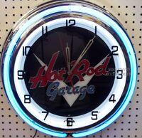 18 Classic Hot Rod Garage Sign Double Neon Clock