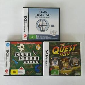 Nintendo-DS-Games-Lot-Of-3-Brain-Training-Quest-Trio-Club-House