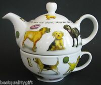 Paul Cardew Porcelain White Dog+quote Tea,coffee Cup+pot,teapot For One-16oz