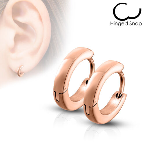 2er Set 316L Stainless Steel Hoops with Clasps Solid Color Single 2,5mm Wide