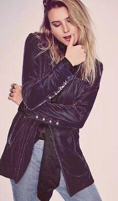 Free People Yesterday/'s Muse Velvet Jacket Blazer Plum Soft Slouchy Sz XS