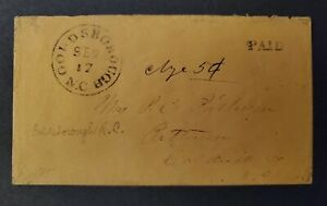 Confederate Stampless Paid Cover - Goldsborough NC to Patterson NC