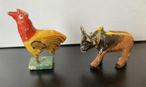 Antique Indian Nirmal Ponki Chekka Wood Miniature Animals Pair Rooster Ox