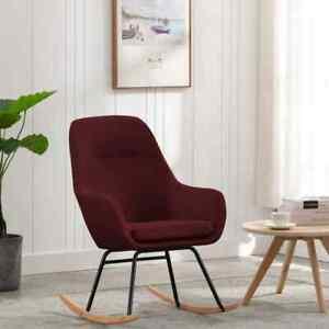 vidaXL Chaise à Bascule Rouge Bordeaux Tissu Siège Fauteuil de Salon Intérieur