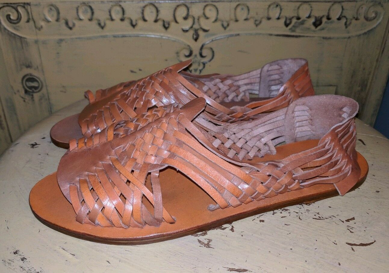 VINTAGE PIERRE ROJAY HANDMADE HUARACHE WOVEN LEATHER SANDALS LADIES BROWN 6