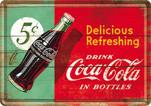 Retro Tin Metal Postcard COCA-COLA in Bottles 5c 10x14cm Licensed COKE Red//Green