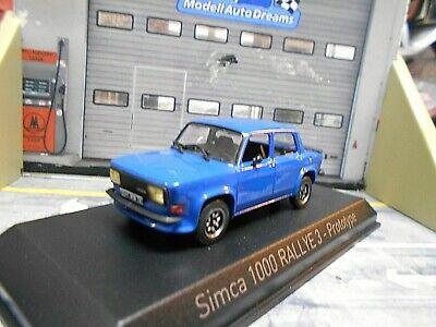 SIMCA 1000 Rallye Rally 3 blau blue Proto 1978 NEU Norev 1:43