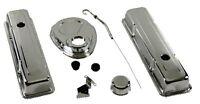 Steel Chrome Dress Up Kit Small Block 327 350 400 Chevy Short Valve Covers Sbc