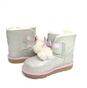 a465aa76d3e NEW TODDLER INFANT UGG METALLIC GOLD PINK SATIN BOW POM POM ORIGINAL ...