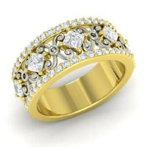 1.30 Ct Solitaire Real Moissanite Engagement Solid 18K Yellow Gold Eternity Band