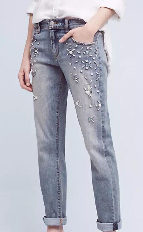 Pilcro Hyphen Bejeweled Mid-Rise Jeans 28 Crop Denim Rhinestone