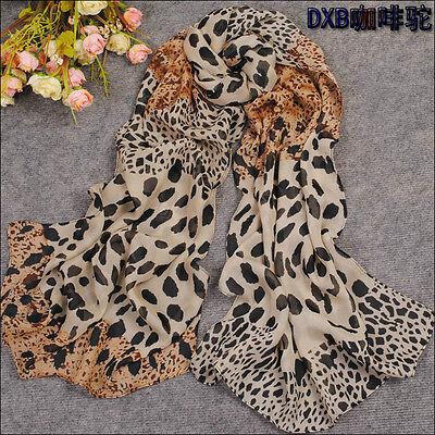 Women's Fashion Long Soft Wrap Lady Shawl Silk Leopard Chiffon Scarf Super