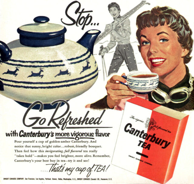 Canterbury Tea in Teapot w/ Blue Reindeer GGA Skiing GO ...