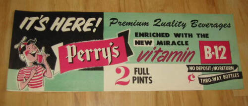 Old Vintage 1950/'s PERRY/'S Vitamin B-12 Soda//Drink Advertising SIGN