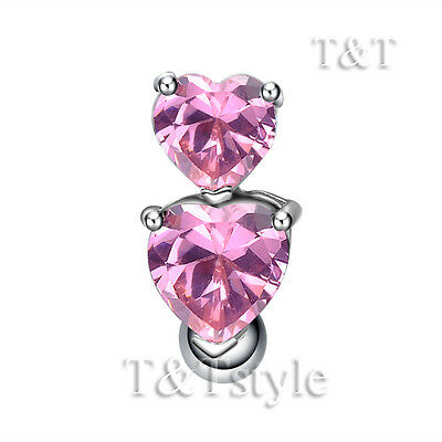 T/&T Reverse Pink CZ Double Heart Belly Bar Ring BL514B