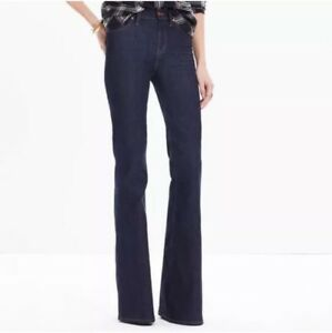 Madewell-Flea-Market-Flare-High-Rise-Jeans-Kenner-Dark-Wash-Size-27-Wide-Leg