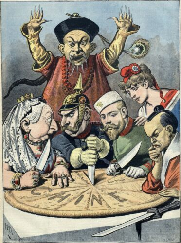 China Imperialism Cartoon 19th Century Queen Victoria Europeans 7x5 Inch Reprint