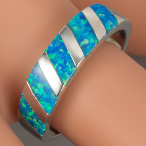Diagonal Stripes Blue Fire Opal Inlay Silver Jewellery Band Ring Size L N Q S T
