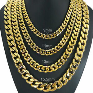 210g Heavy Men S 18k Gold Filled Solid Cuban Curb Chain Necklace