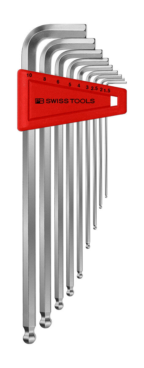PB Swiss Tools PB 212.LH-10 Hex Key Set Ballpoint Metric Long 1.5-10mm 9-Piece