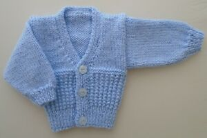 e5daabf26c8f 5-7lbs Boys Premature Tiny Baby Cardigan Hand Knitted Blue Rib ...