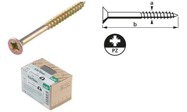 suki. Holzschraube BASIC, Senkkopf, 6,0x50 mm, PZ3, 100 Stk.